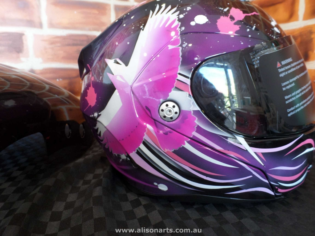 custom airbrushed bell helmet - pink purple kookaburra