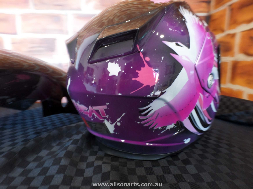 custom airbrushed bell helmet - pink kookaburra bird themed