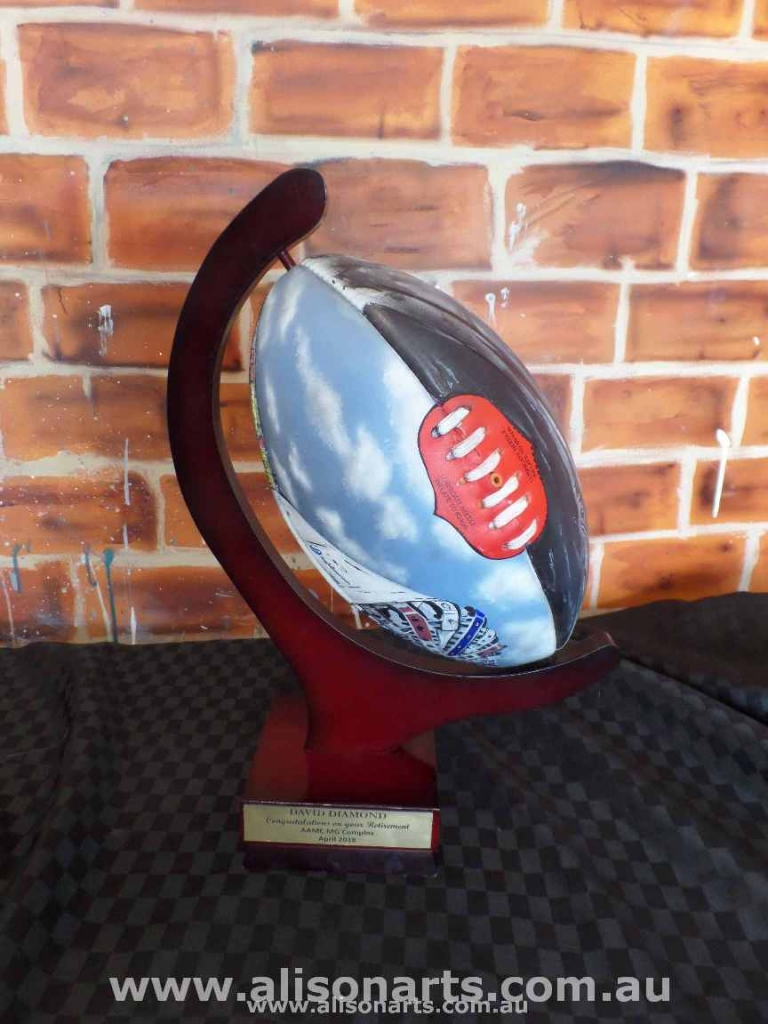 airbrushed leather afl ball