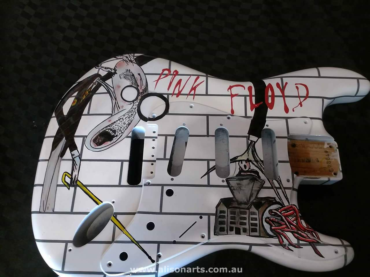 airbrushed pink floyd the wall guitar