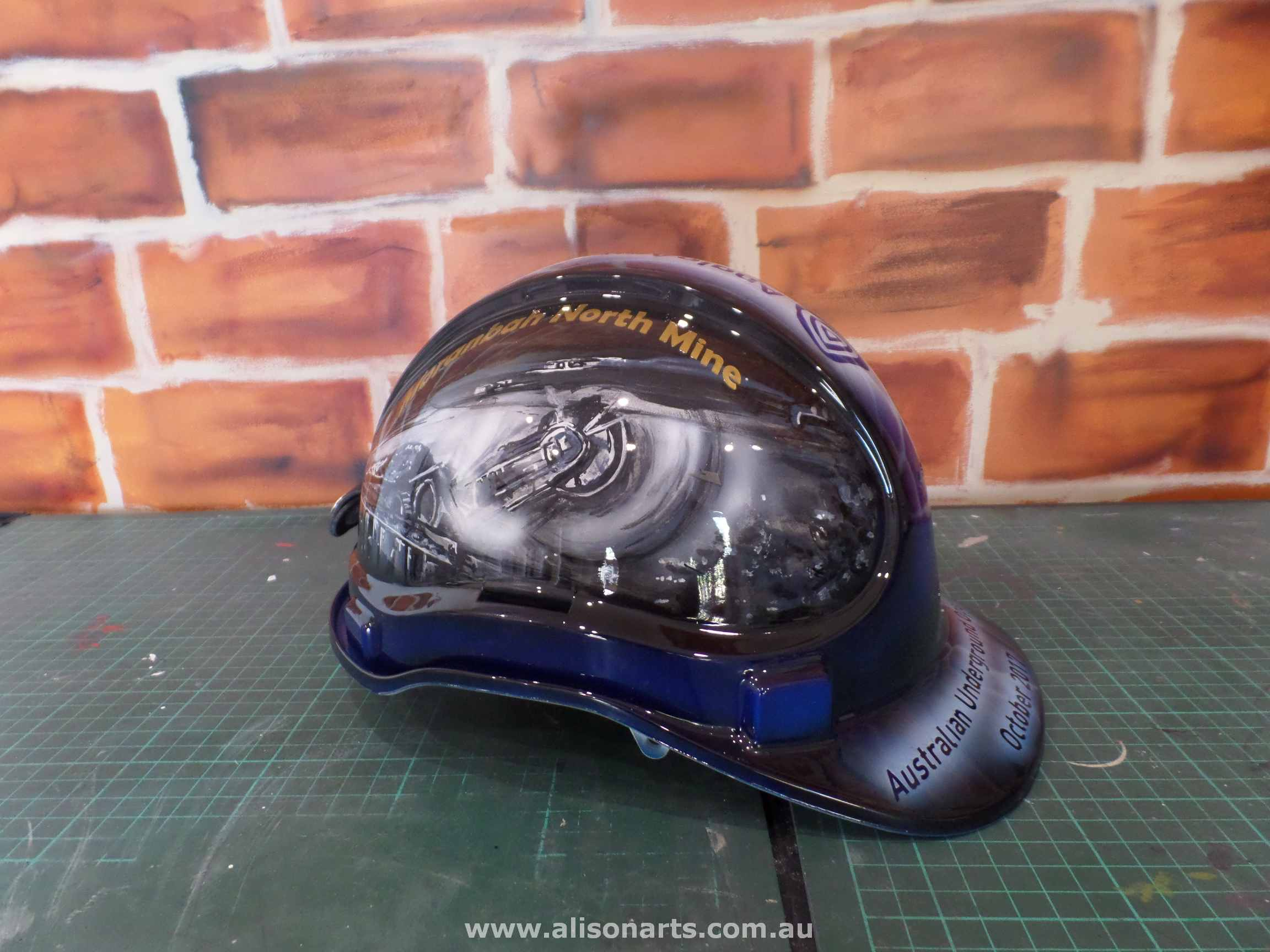 custom artwork painted miners hard hat helmet