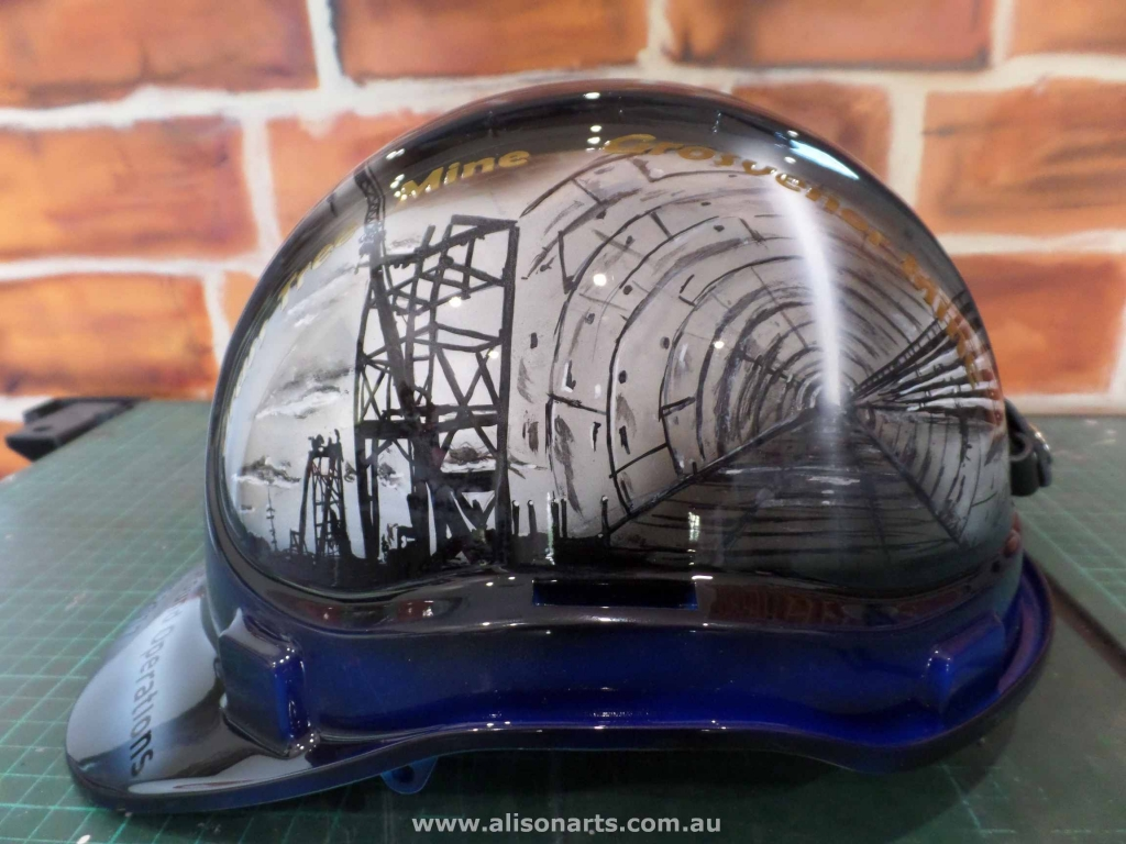custom artwork hardhat helmet
