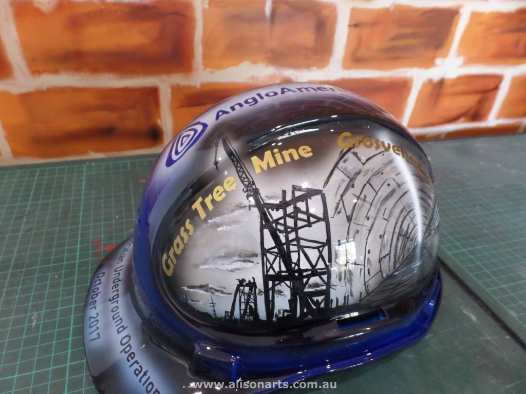 custom airbrushed miners hard hat