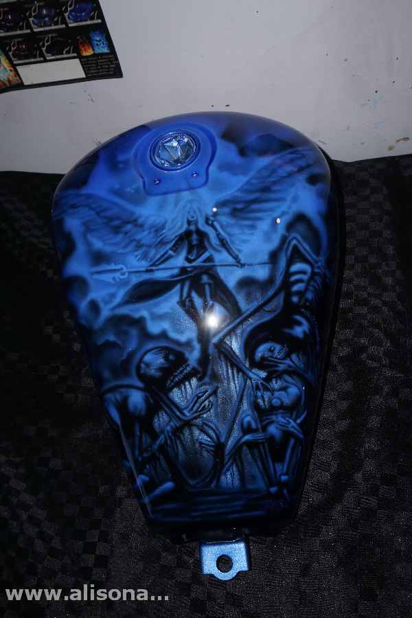 kawasaki tank airbrushed blue candy