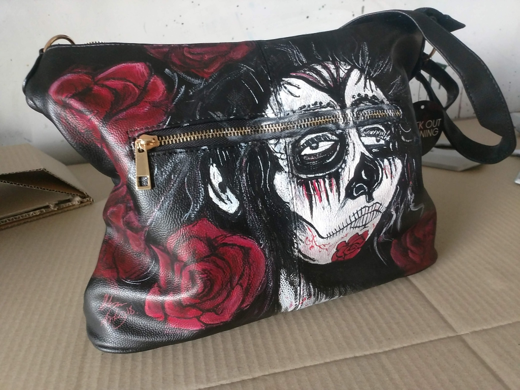 Custom painted day of the dead hand bag