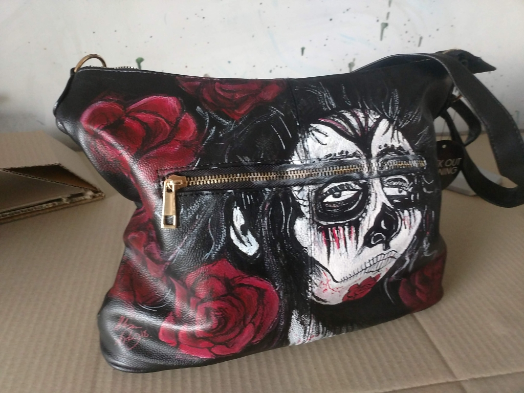 Custom painted day of the dead handbag