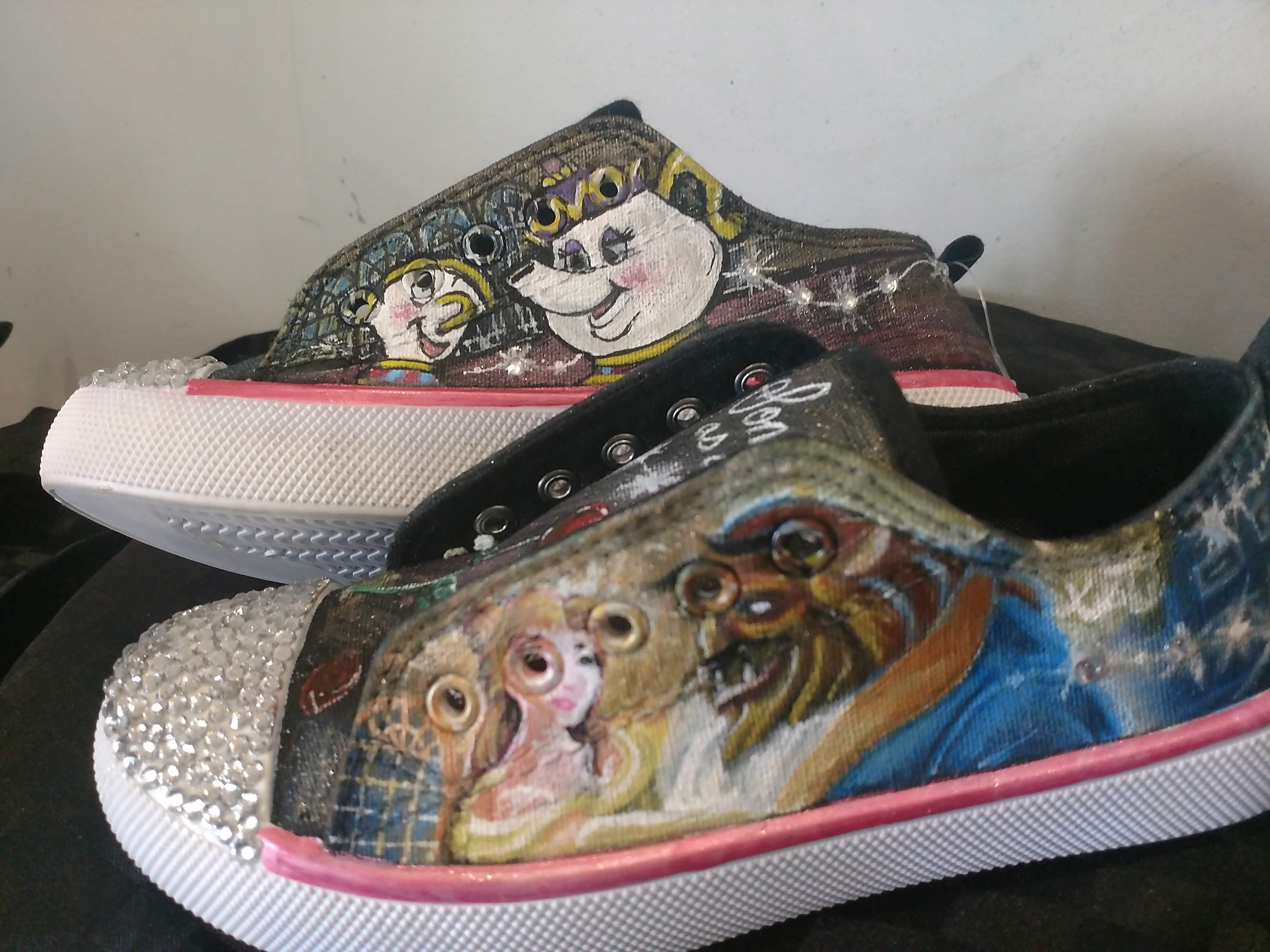 custom painted airbrushed kids vans shoes beauty and beast disney
