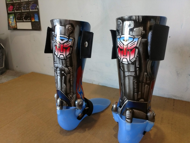 Custom painted A.F.O boots, Transformers optimus