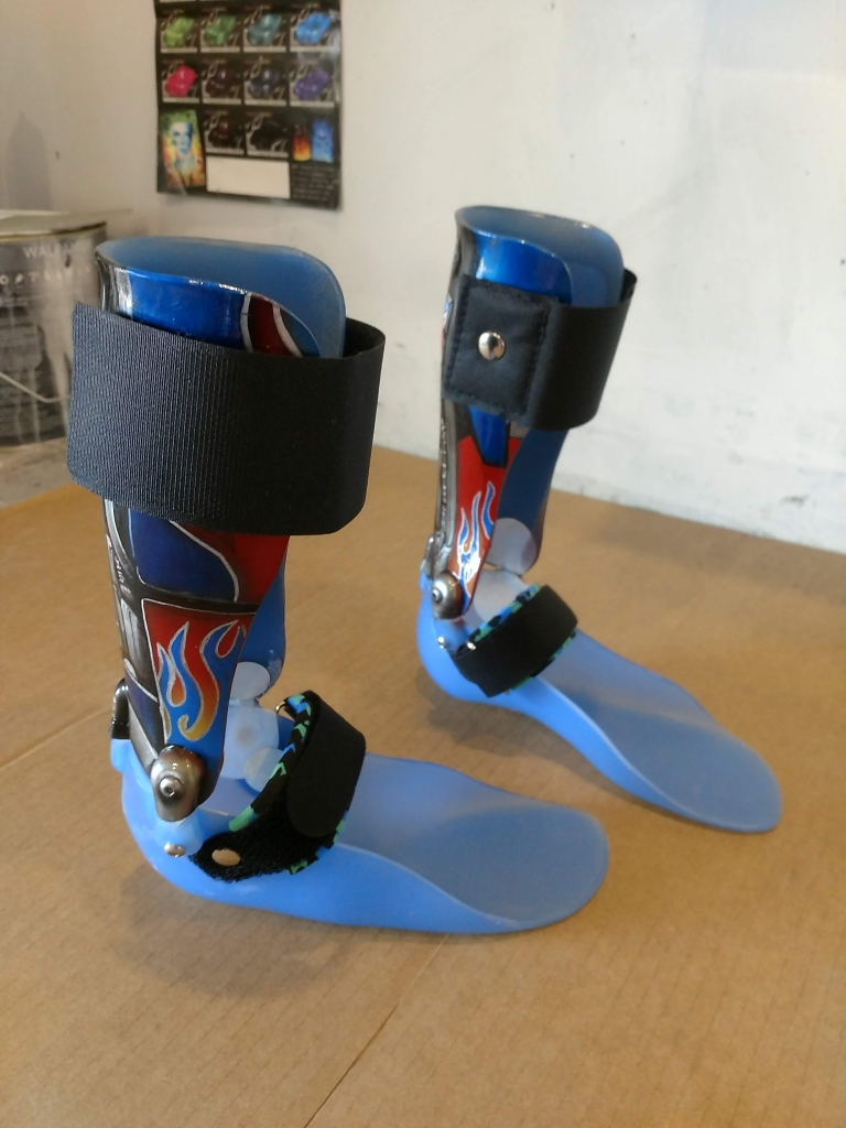custom airbrushed AFO leg braces