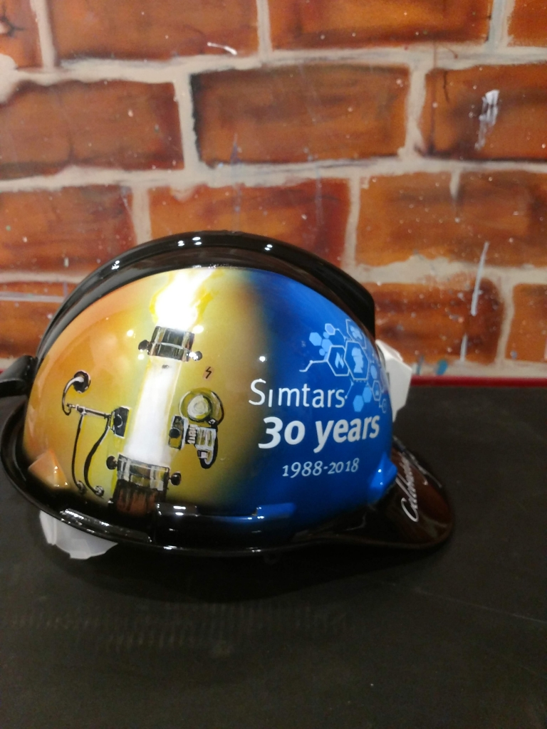 Custom painted miners hard hat - Simtars