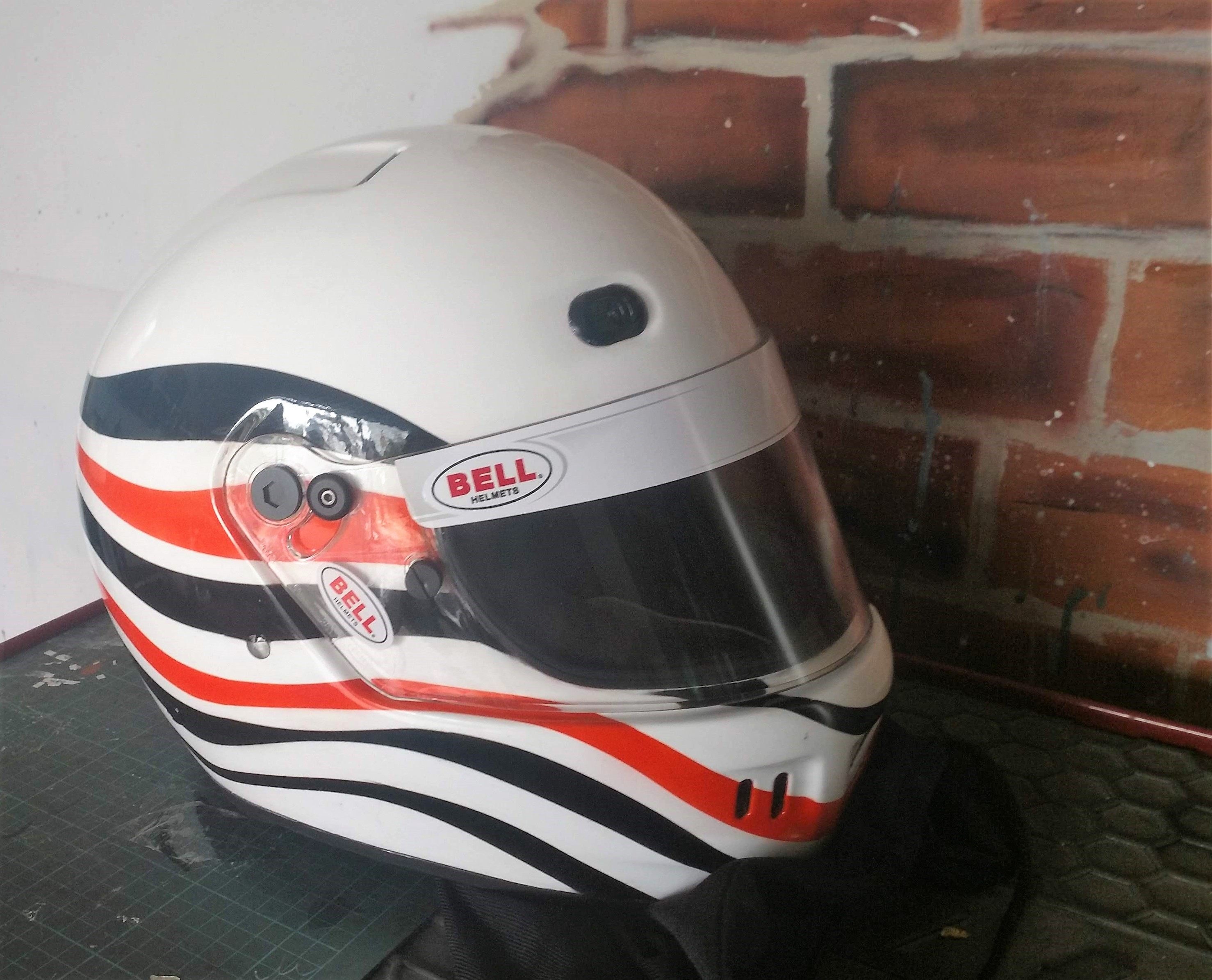 custom painted Bell racing helmet