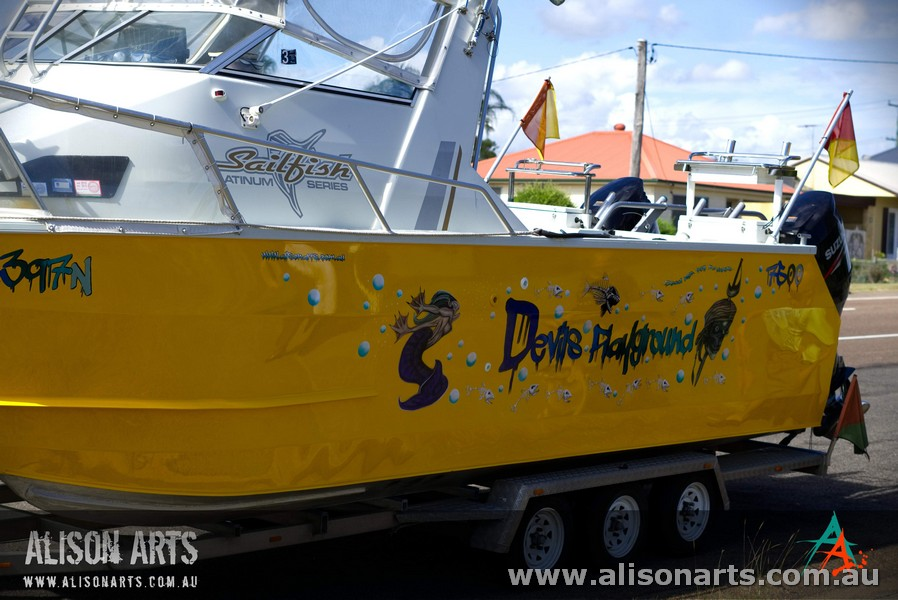 custom airbrushed fishing boat sailfish