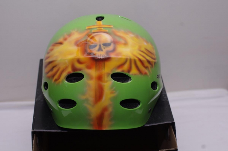 custom painted protec skate helmet