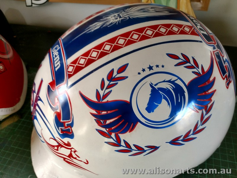 Custom painted harness racing helmet