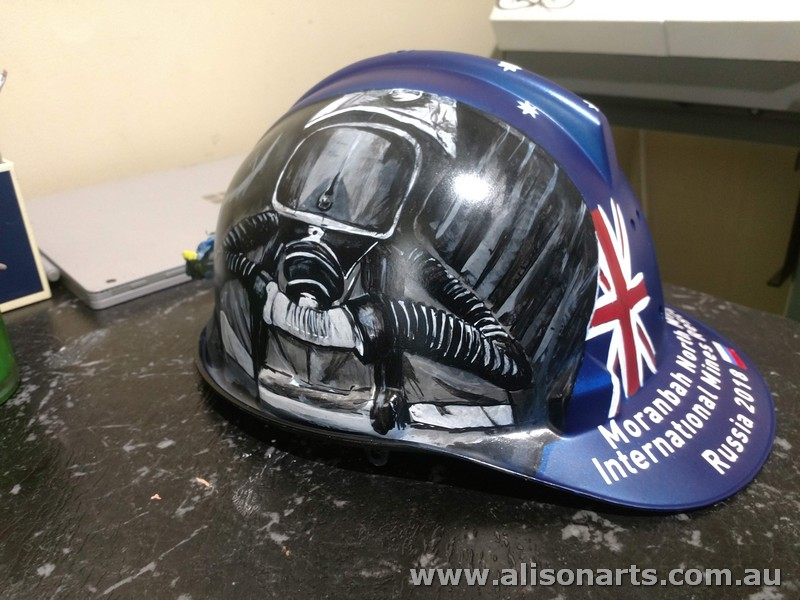 custom painted mine rescue hard hat helmets