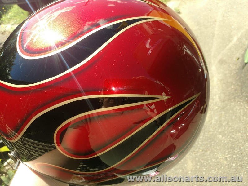 airbrush painted flames helmet