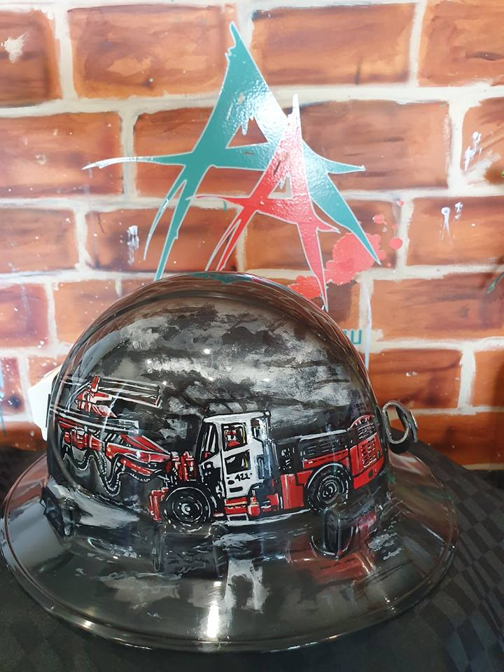 full brimmed custom hand painted airbrushed hard hat