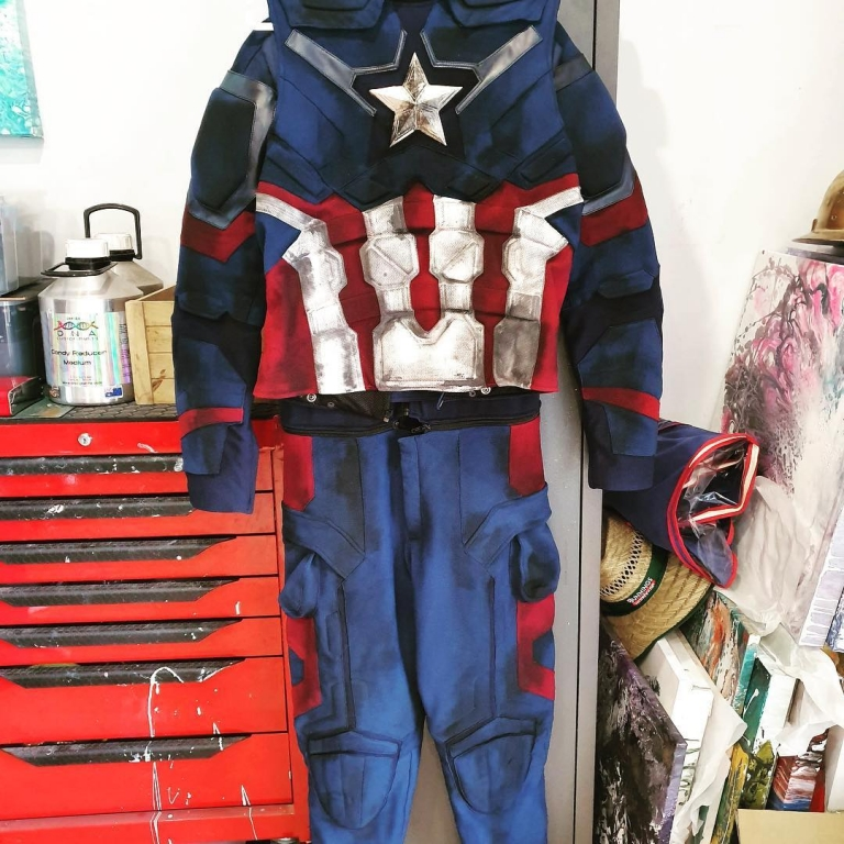 custom painted weathered captain america suit