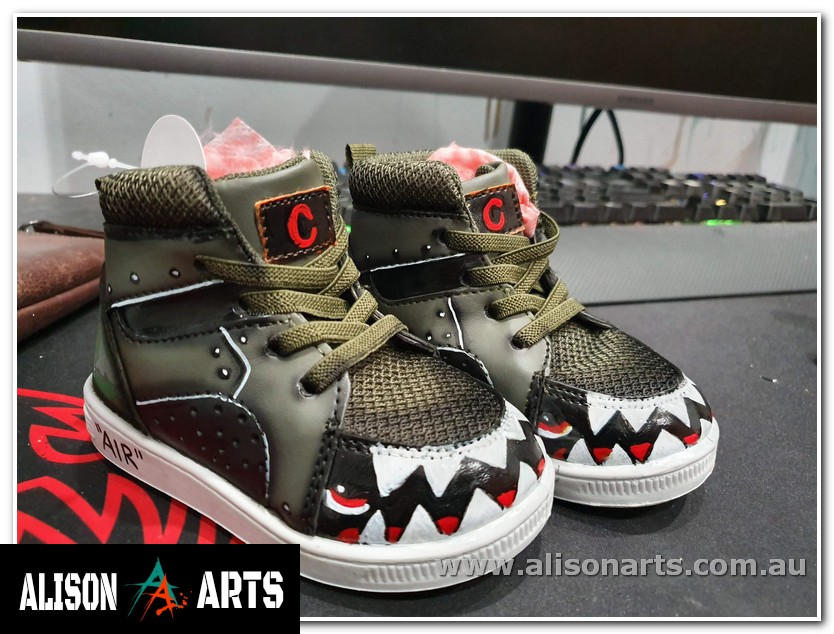army themed kids custom hand painted shoes australia