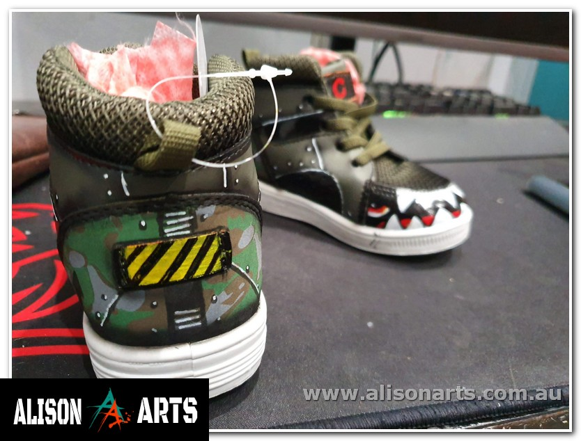 custom hand painted kids baby shoes army