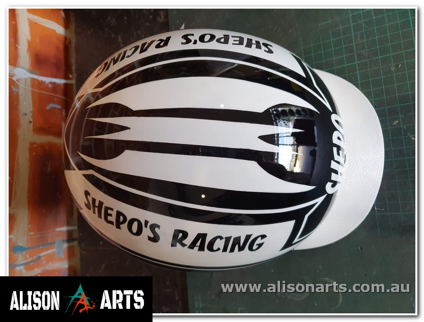airbrushed custom harness racing helmet