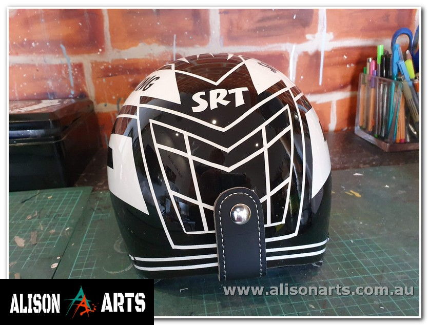 custom airbrush painted harness racing helmet