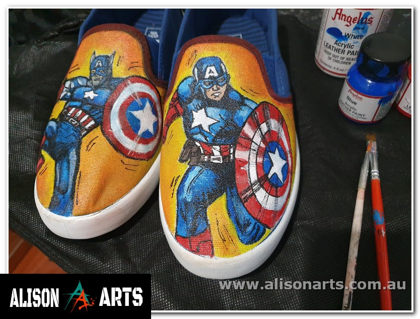 custom painted captain america shoes