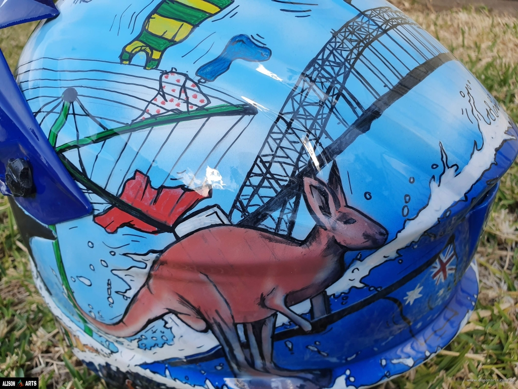 australian custom themed painted helmet