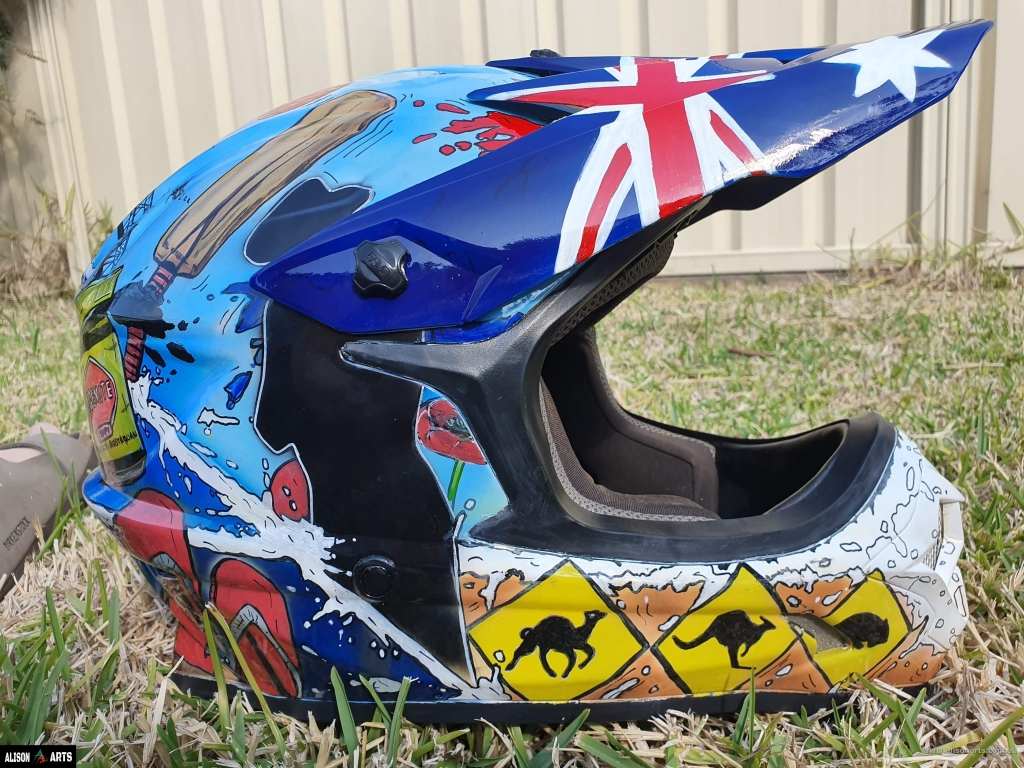 australian themed custom painted helmet