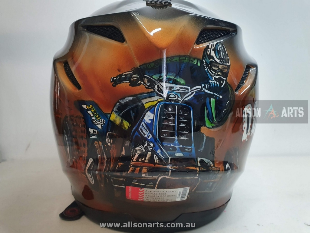 custom airbrushed quad bike helmet